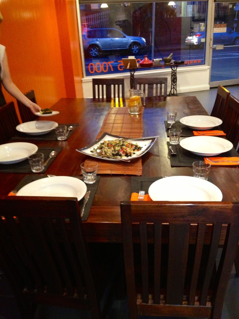 The table set ready to eat