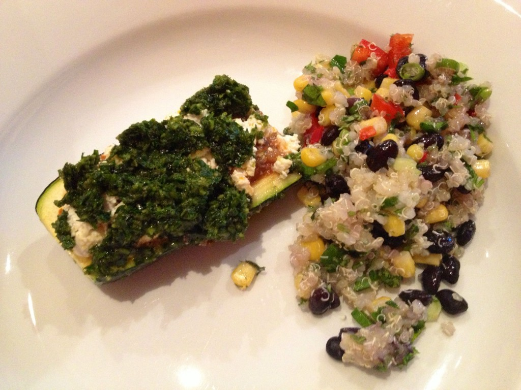 Stuffed zucchini and the quinoa salad