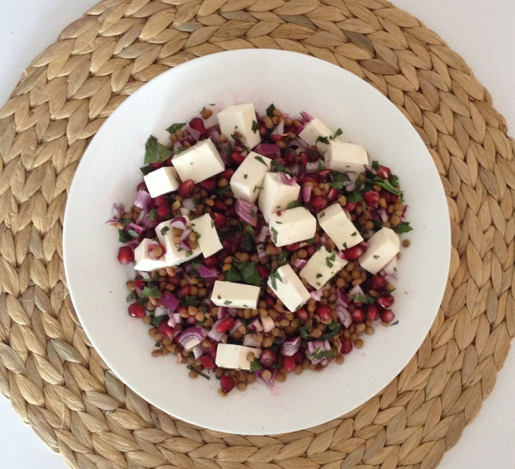 Pomegranate, Feta & Mint Lentil Salad