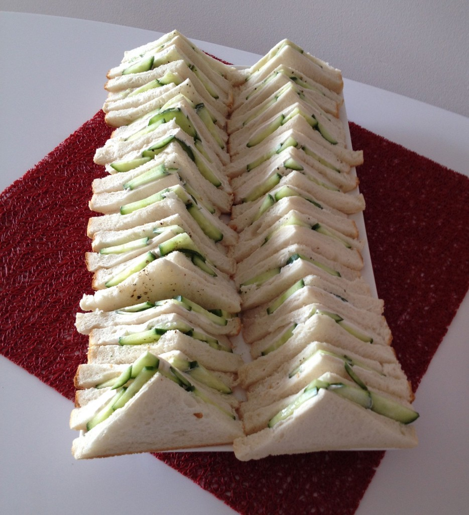 Vegan cucumber and 'cream cheese' sandwiches