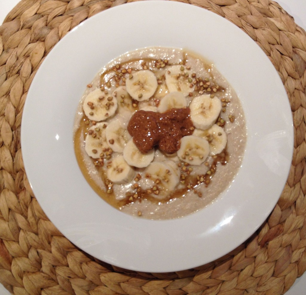 Quinoa Flake Porridge with banana and almond butter