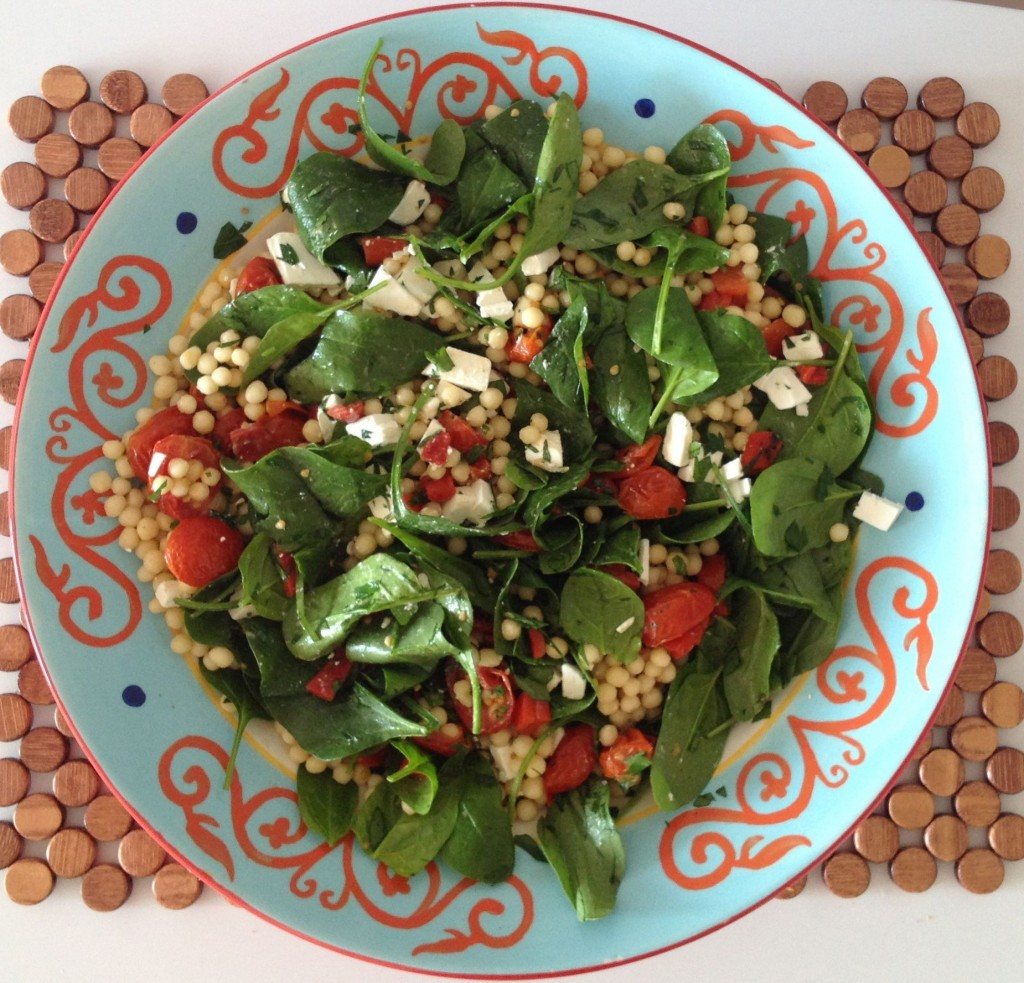 Pearl Couscous with Roast Tomato, Spinach & Feta