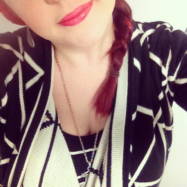 Day 31: final day of the @foxinflats  style challenge - I Just Love This...combo of stripes, red lips & my current fav cardigan. Thanks for another fun month Andrea, you're a superstar #foxinflatsstyledare