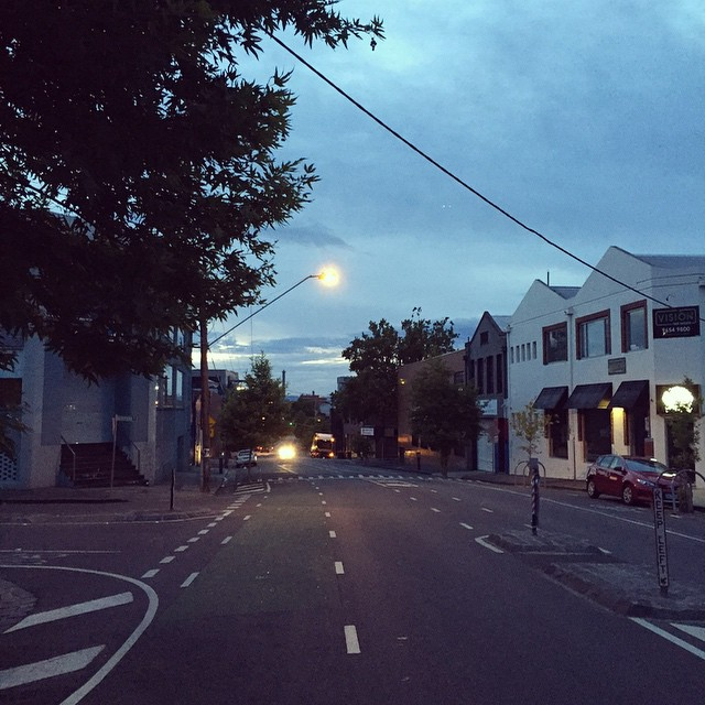 All is quiet on the streets of Collingwood at 5.45am. Me though, I'm starting work in 15 minutes, so I'm off to find some caffeine #collingwood #morning #earlystart #coffeeplease