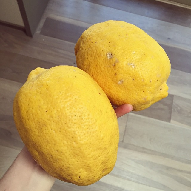 Holy moly, look at the size of these lemons from my mums trees. Let's hope they're juicy! #lemons #homegrown #giantfruit