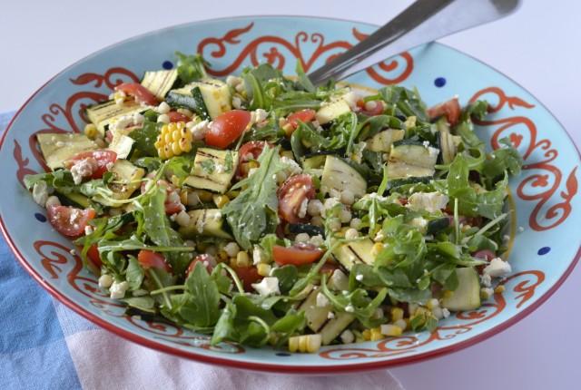 Grilled summer israeli couscous salad