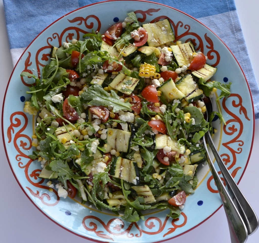 Grilled summer israeli couscous salad