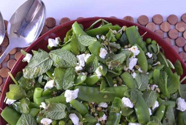 Pea, Mint & Goats Cheese Salad