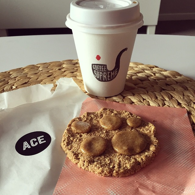 Been feeling miserable all week so treating myself to a @coffee_supreme_mel coffee & a raw, salted caramel cookie from @ace_cookiesandmilk - #likemindedprojects is my new favourite local that's for sure!