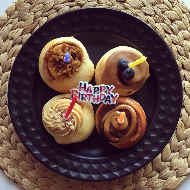 Mini scrolls from @popupscroll make an excellent birthday cake substitution in my opinion. Plus, they're delicious! #scrolls #birthday