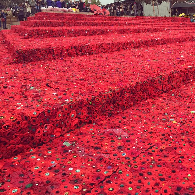 They're a bit soggy now but still a great sight. A wonderful Anzac Day installation at Federation Square #Anzac #lestweforget #anzacday #melbourne