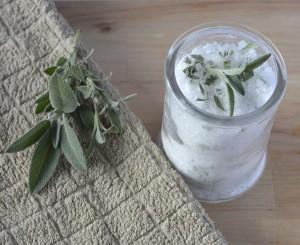 Homemade bath salts - peppermint & sage