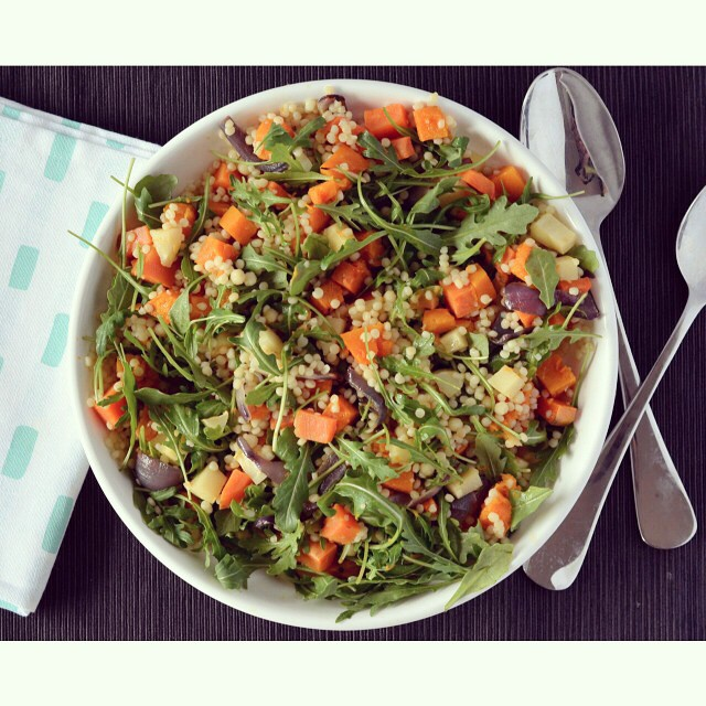 My love of pearl couscous is well documented and this is one of the reasons why - the recipe for this roast veggie salad is up on I Spy Plum Pie today! Don't forget to add your recipes to the #meatlessmonday linkup as well! #salad #vegan #sweetpotato #couscous