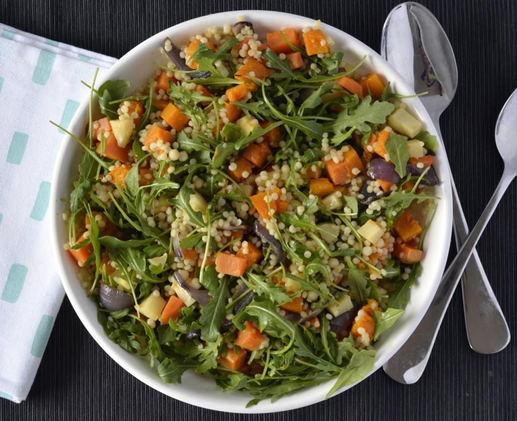 Roast vegetable israeli couscous salad