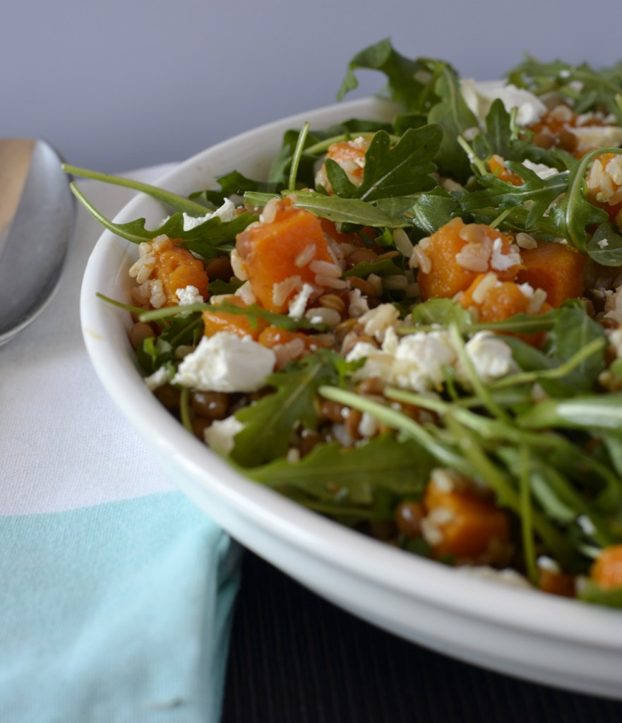 Spiced pumpkin lentil salad