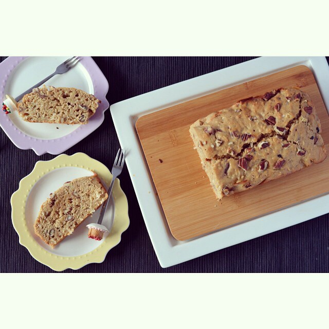 Fancy a spot of baking? The recipe for this banana pecan loaf is up on I Spy Plum Pie today! #baking #banana #pecan #loaf