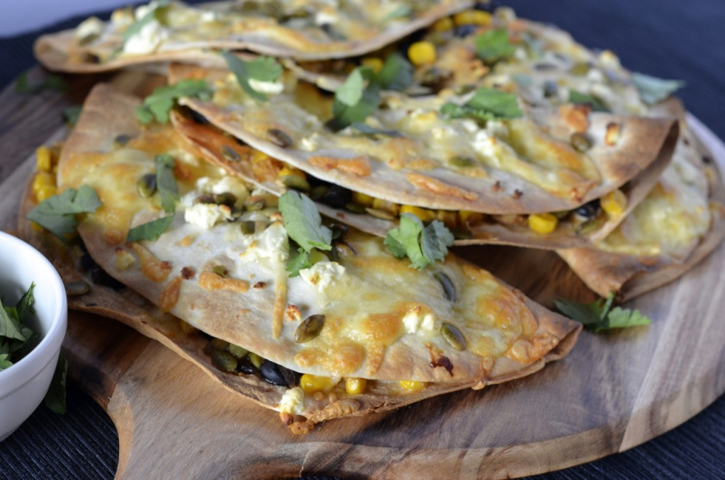Baked corn & black bean quesadillas