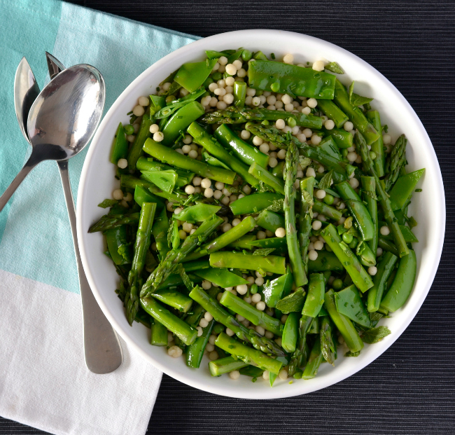 Pea & Asparagus Israeli Couscous Salad | I Spy Plum Pie