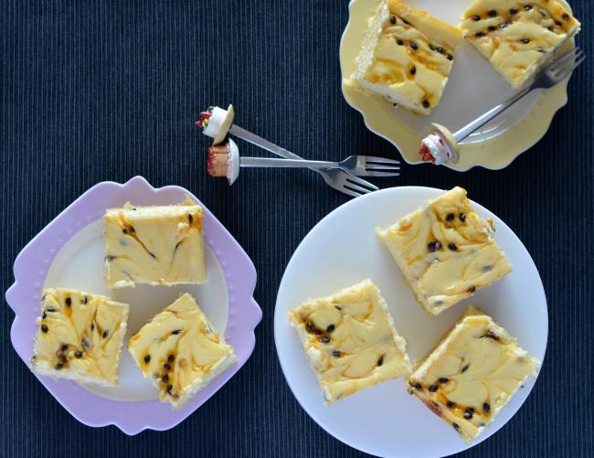 Passionfruit Cheesecake Slice | I Spy Plum Pie