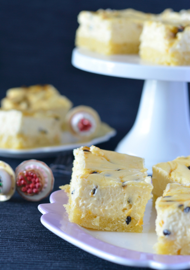 Passionfruit Cheesecake Slice | I Spy Plum Pie