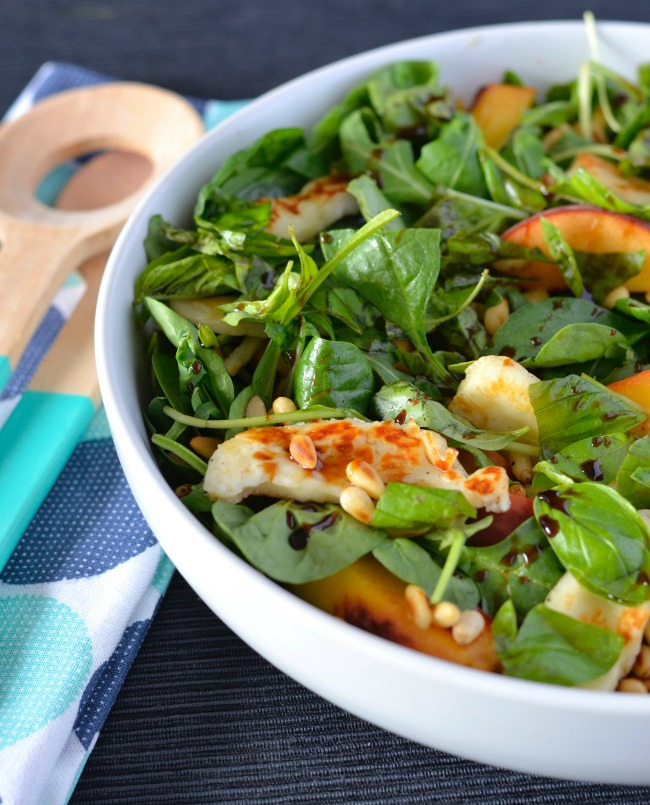 Peach Haloumi Salad | I Spy Plum Pie
