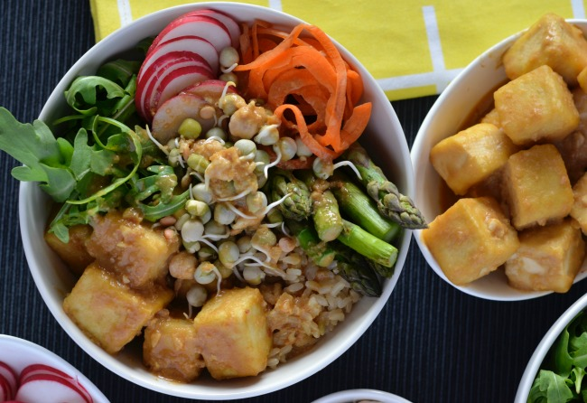 Ginger Miso Tofu Buddha Bowl | I Spy Plum Pie