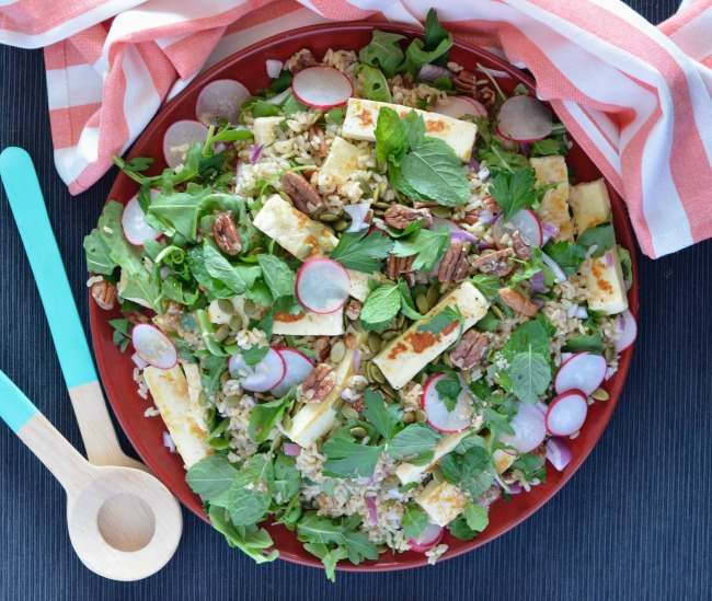 Haloumi Brown Rice Salad | I Spy Plum Pie