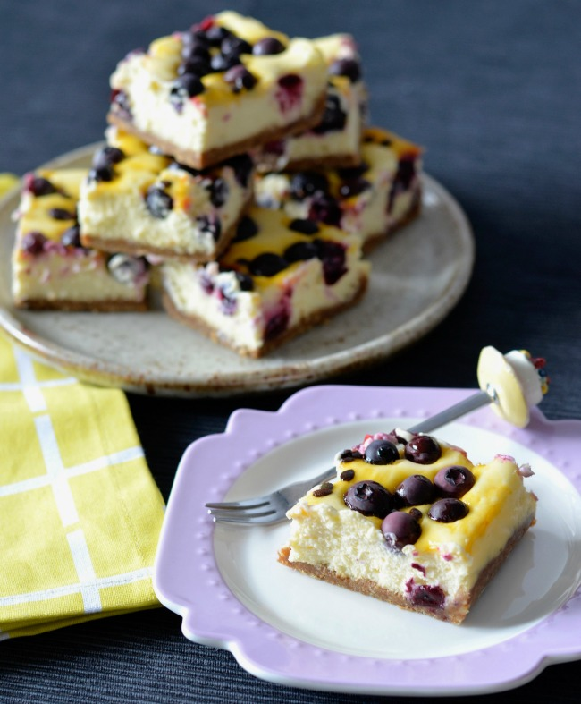 Blueberry Passionfruit Cheesecake Slice | I Spy Plum Pie