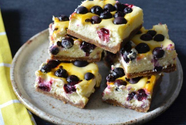 Blueberry Passionfruit Cheesecake Slice | I Spy Plum Pie
