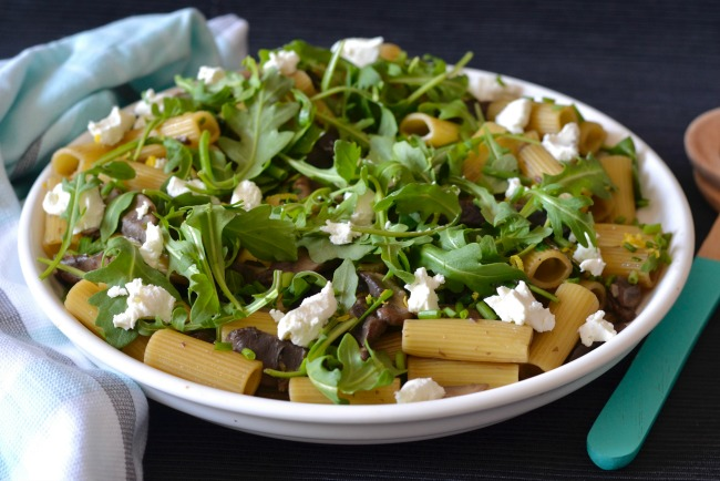Mushroom Goats Cheese Pasta Salad | I Spy Plum Pie