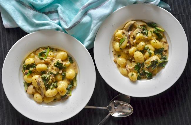 Mushroom Spinach Gnocchi | I Spy Plum Pie