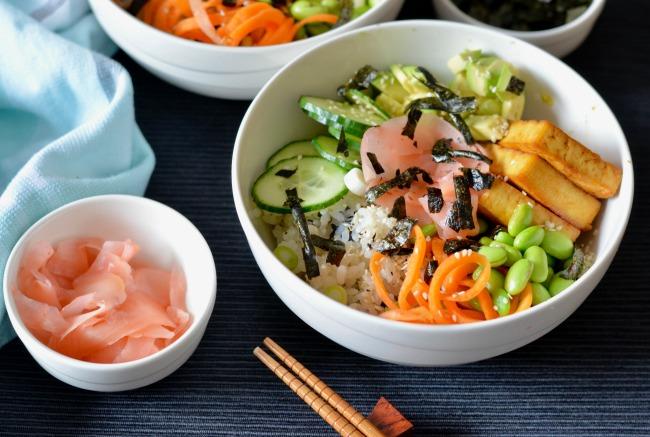 Maple Soy Tofu Sushi Bowl | I Spy Plum Pie