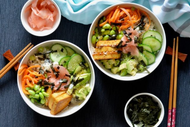 Maple Soy Tofu Sushi Bowl | I Spy Plum Pie