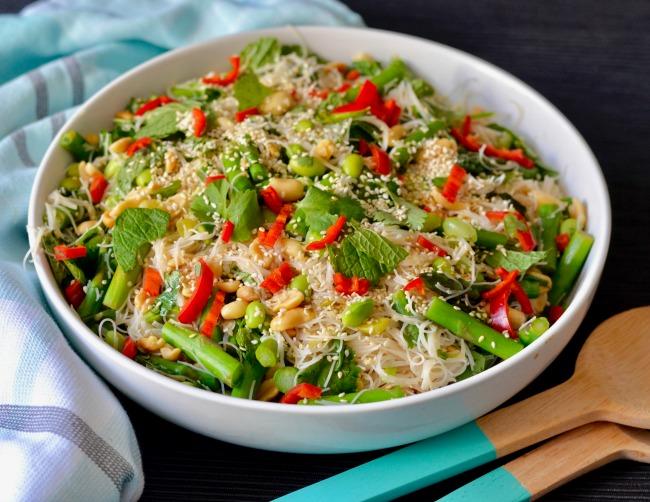 Edamame Asparagus Noodles | I Spy Plum Pie