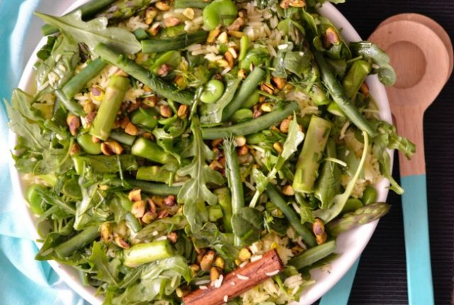 Asparagus Bean Rice Salad | I Spy Plum Pie