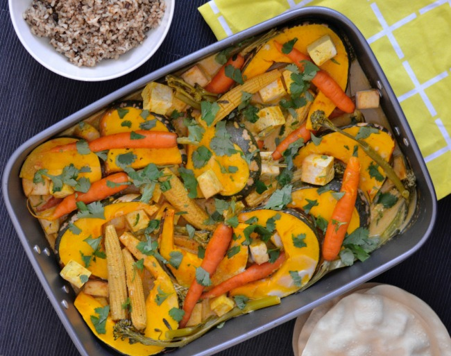 Pumpkin Tofu Curry Tray Bake | I Spy Plum Pie