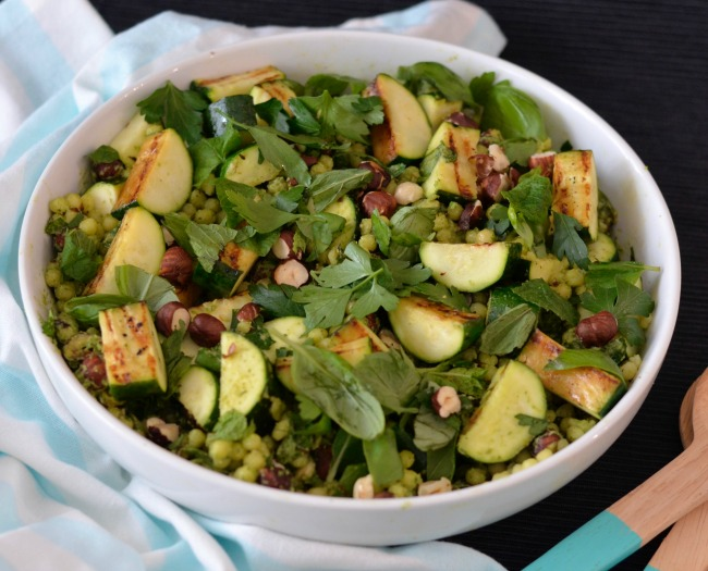 Charred Zucchini Israeli Couscous Salad | I Spy Plum Pie