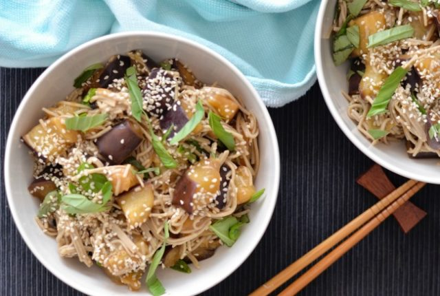 Roasted Eggplant Soba Noodles | I Spy Plum Pie