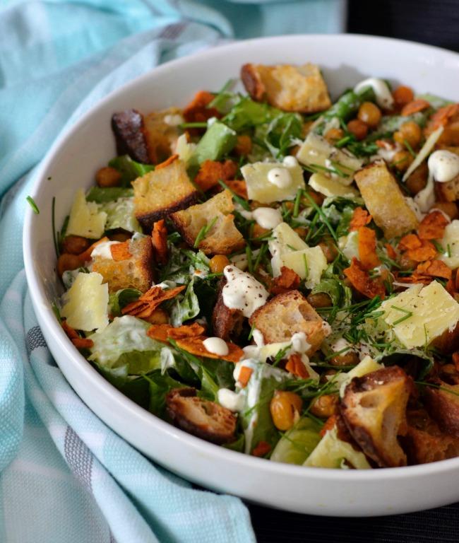 Chickpea Caesar Salad | I Spy Plum Pie