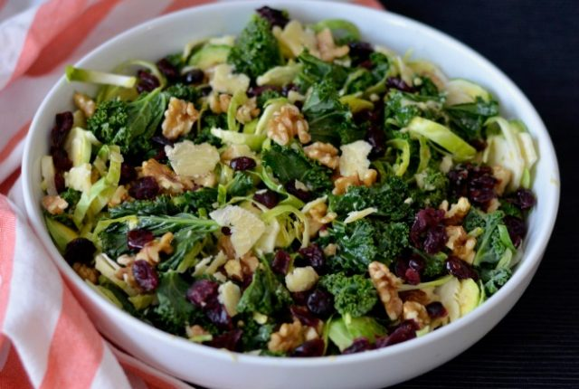 Kale and Brussels Sprout Salad   I Spy Plum Pie