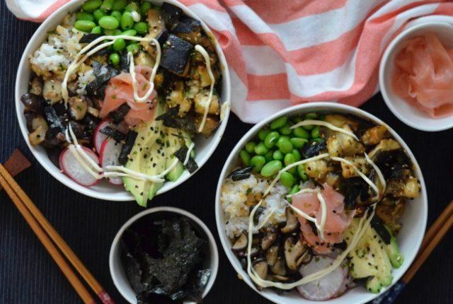 Miso Eggplant Sushi Bowl | I Spy Plum Pie