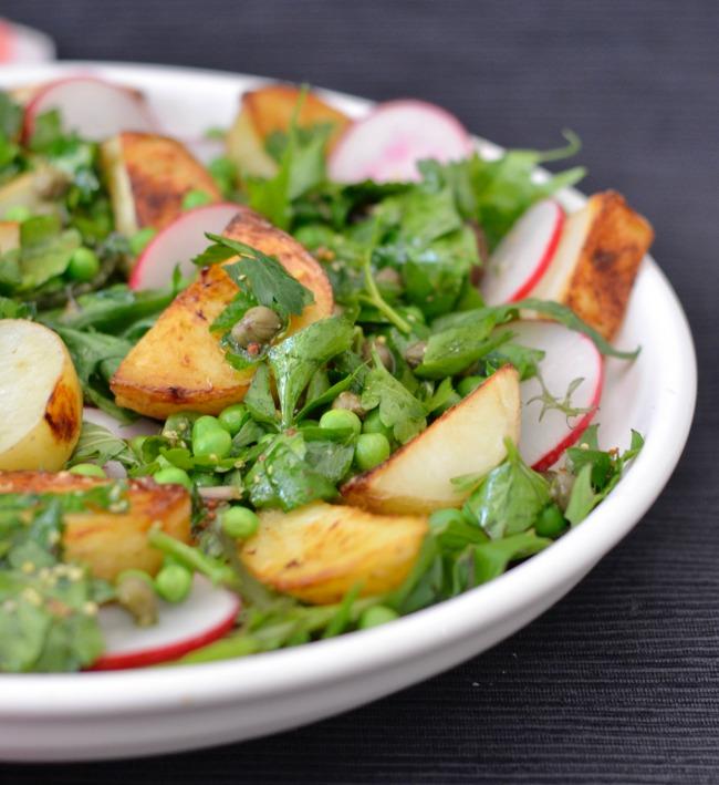 Roast Potato Pea and Radish Salad | I Spy Plum Pie