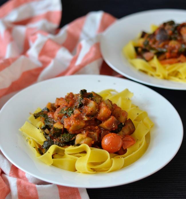 Eggplant Kale Tomato Pasta | I Spy Plum Pie
