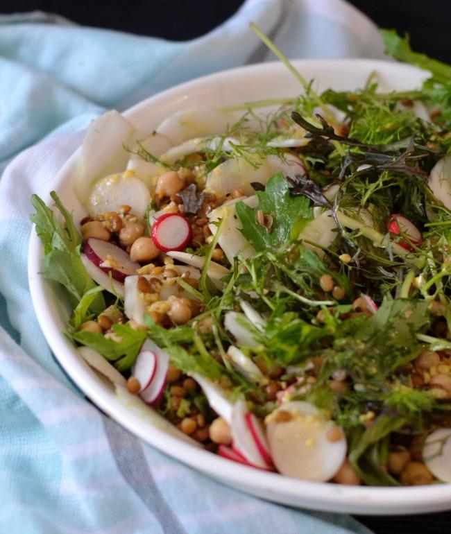 Lentil Chickpea Radish Salad | I Spy Plum Pie
