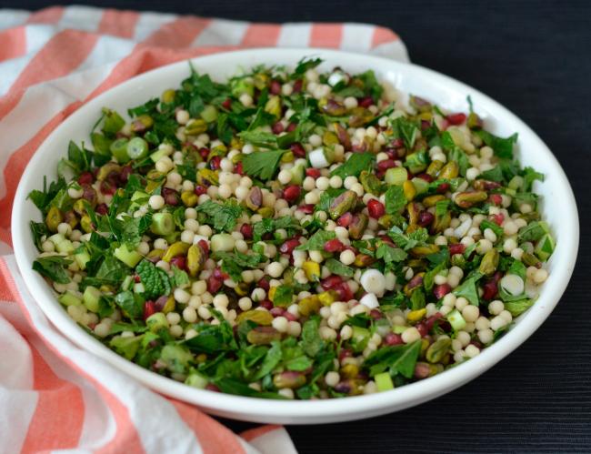 Pomegranate Pistachio Israeli Couscous Salad | I Spy Plum Pie