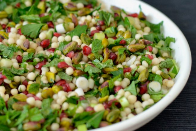 Pomegranate Pistachio Israeli Couscous Salad | I Spy Plum Pie