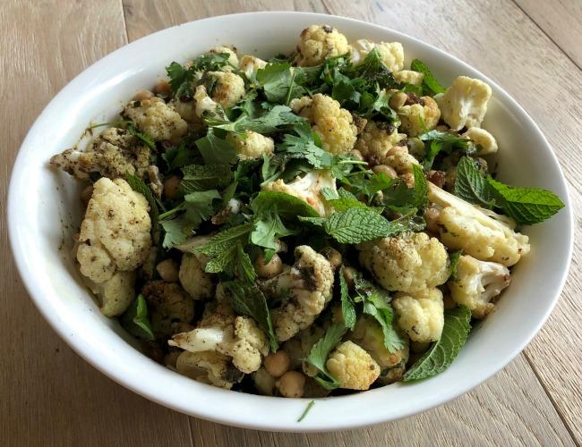 Cauliflower Chickpea and Mint Harissa Salad | I Spy Plum Pie