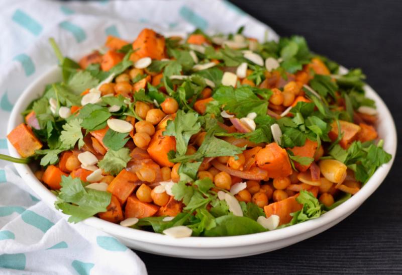Sweet Potato and Harissa Chickpea Salad   I Spy Plum Pie