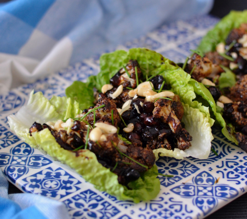 Sticky Cauliflower Chickpea Lettuce Cups | I Spy Plum Pie