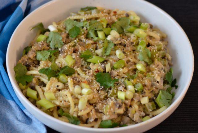 Mushroom Celery Leek Dan Dan Noodles | I Spy Plum Pie
